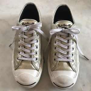 Jack Purcell Converse Gold Metallic Leather, Sz 7